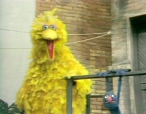 Big Bird presents Grovers' chin-ups!