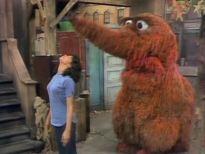 Snuffy follows the leader.