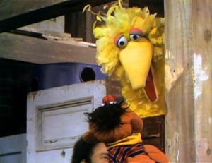 Big Bird sticks his beak into the conversation.