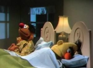 The shoe-dropper keeps Ernie up.