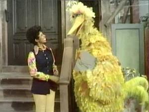 Susan talks to Big Bird.
