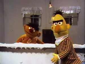 Bert tells Ernie to finish up his bath.