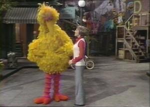 Julie meets Big Bird.