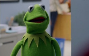 Kermit is surprised by Groban.