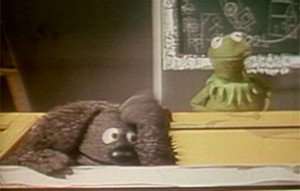 Rowlf explains the show to Kermit.