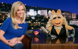 "Reese Witherspoon visits Piggy on ""Up Late""."