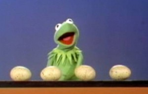 Kermit counts 4 eggs.