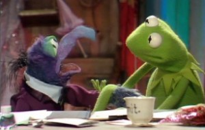 Gonzo can't believe that Kermit doesn't know the famous banana sketch!