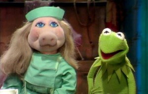 Piggy can't believe that Kermit doesn't know the famous banana sketch!