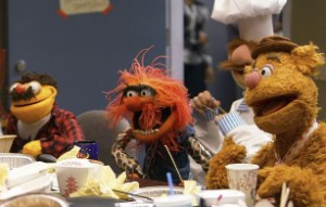 Lew, Animal, and Fozzie collaborate.